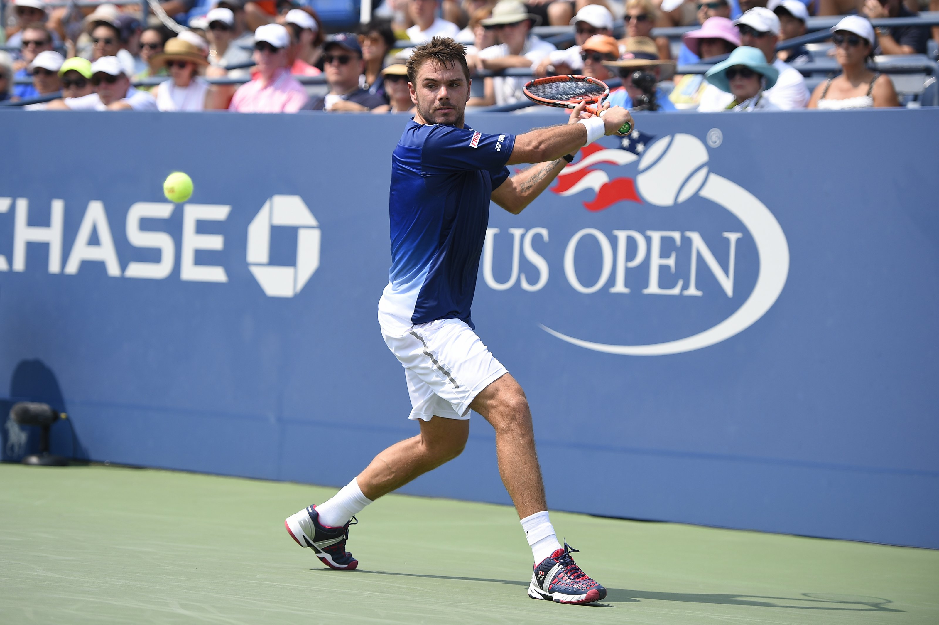 Stan Wawrinka of Switzerland plays his second round match at the US Open at the USTA Billie Jean King National Tennis Center in the Flushing neighborhood of the Queens borough of New York City, NY, USA on September 3, 2015. Photo by Corinne Dubreuil/ABACAPRESS.COM