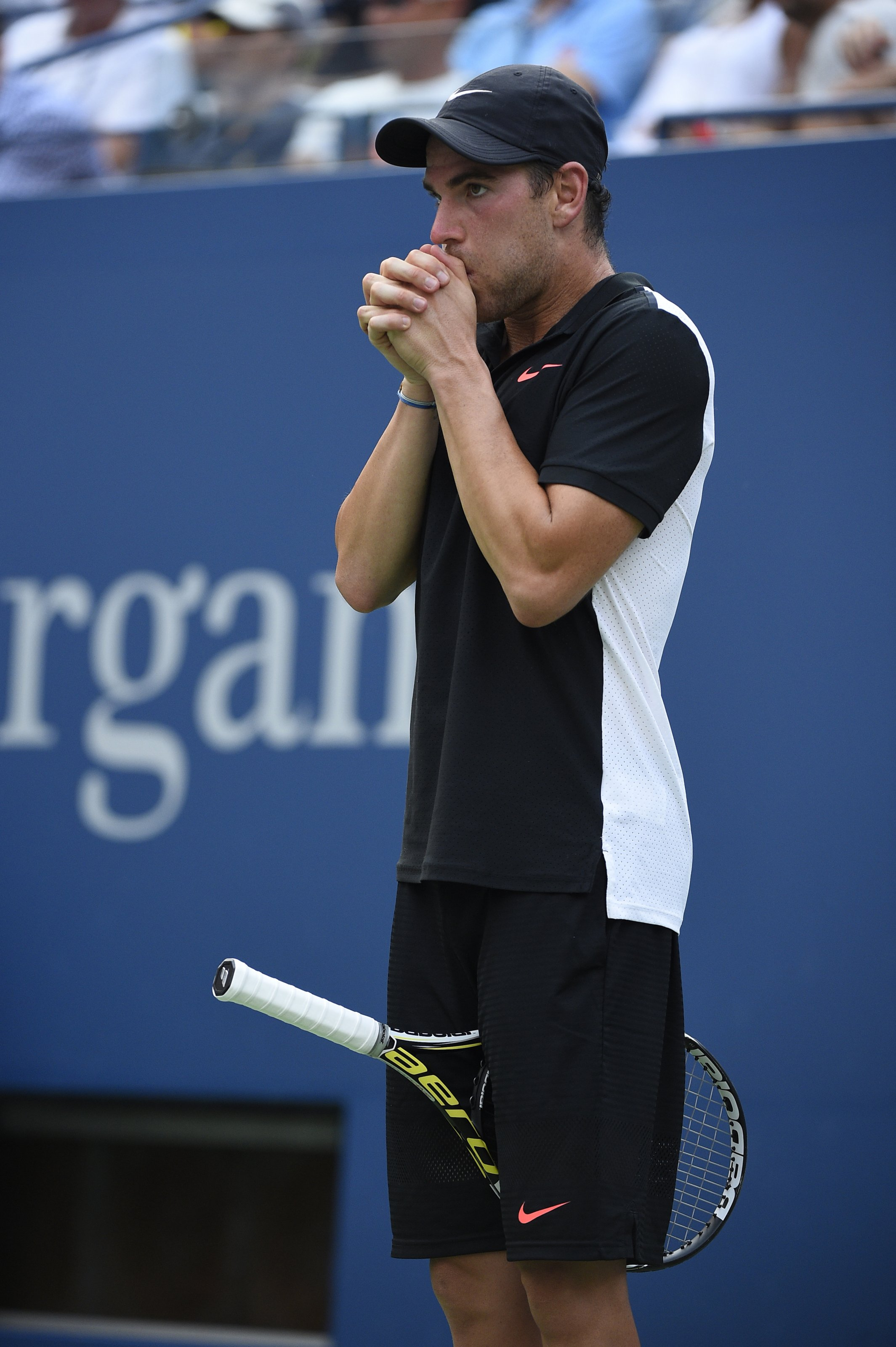 Adrian Mannarino of France plays his second round match at the US Open at the USTA Billie Jean King National Tennis Center in the Flushing neighborhood of the Queens borough of New York City, NY, USA on September 3, 2015. Photo by Corinne Dubreuil/ABACAPRESS.COM