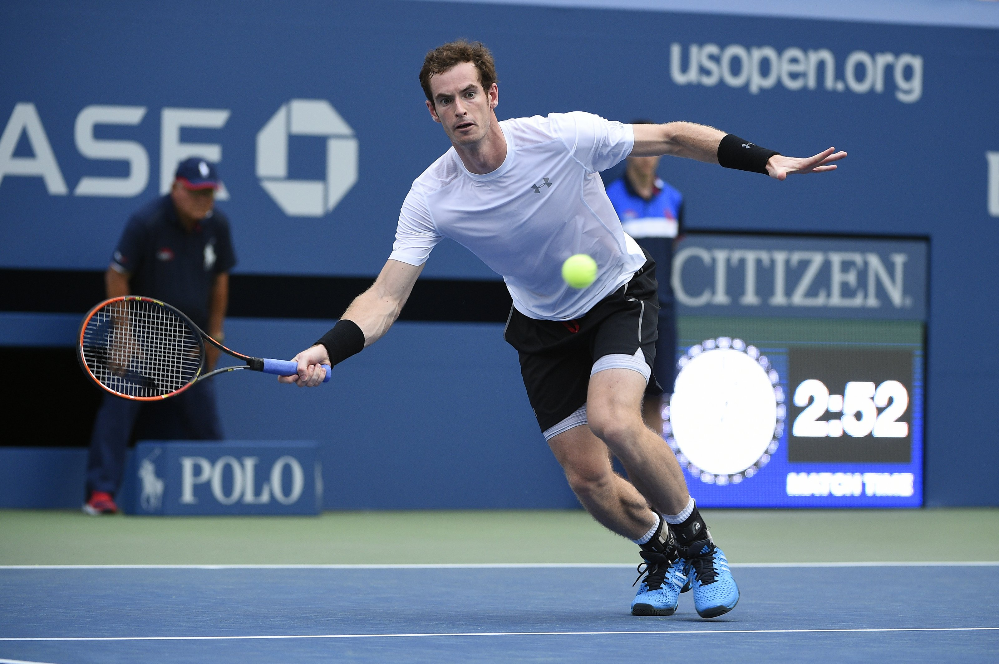 Andy Murray of Scotland plays his second round match at the US Open at the USTA Billie Jean King National Tennis Center in the Flushing neighborhood of the Queens borough of New York City, NY, USA on September 3, 2015. Photo by Corinne Dubreuil/ABACAPRESS.COM