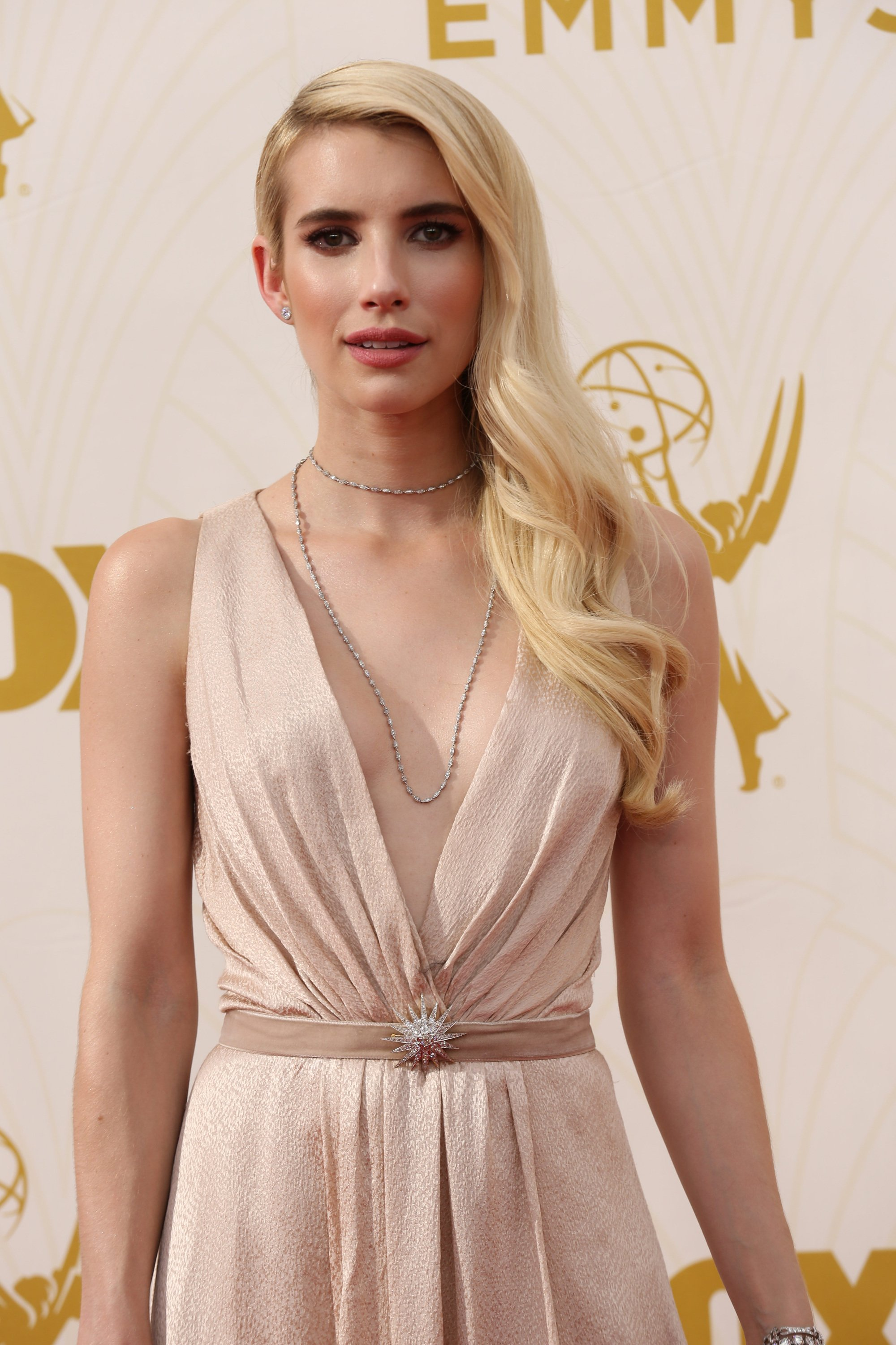 Celebrities arrive at 67th Emmys Red Carpet at Microsoft Theater.  Featuring: Emma Roberts Where: Los Angeles, California, United States When: 20 Sep 2015 Credit: Brian To/WENN.com