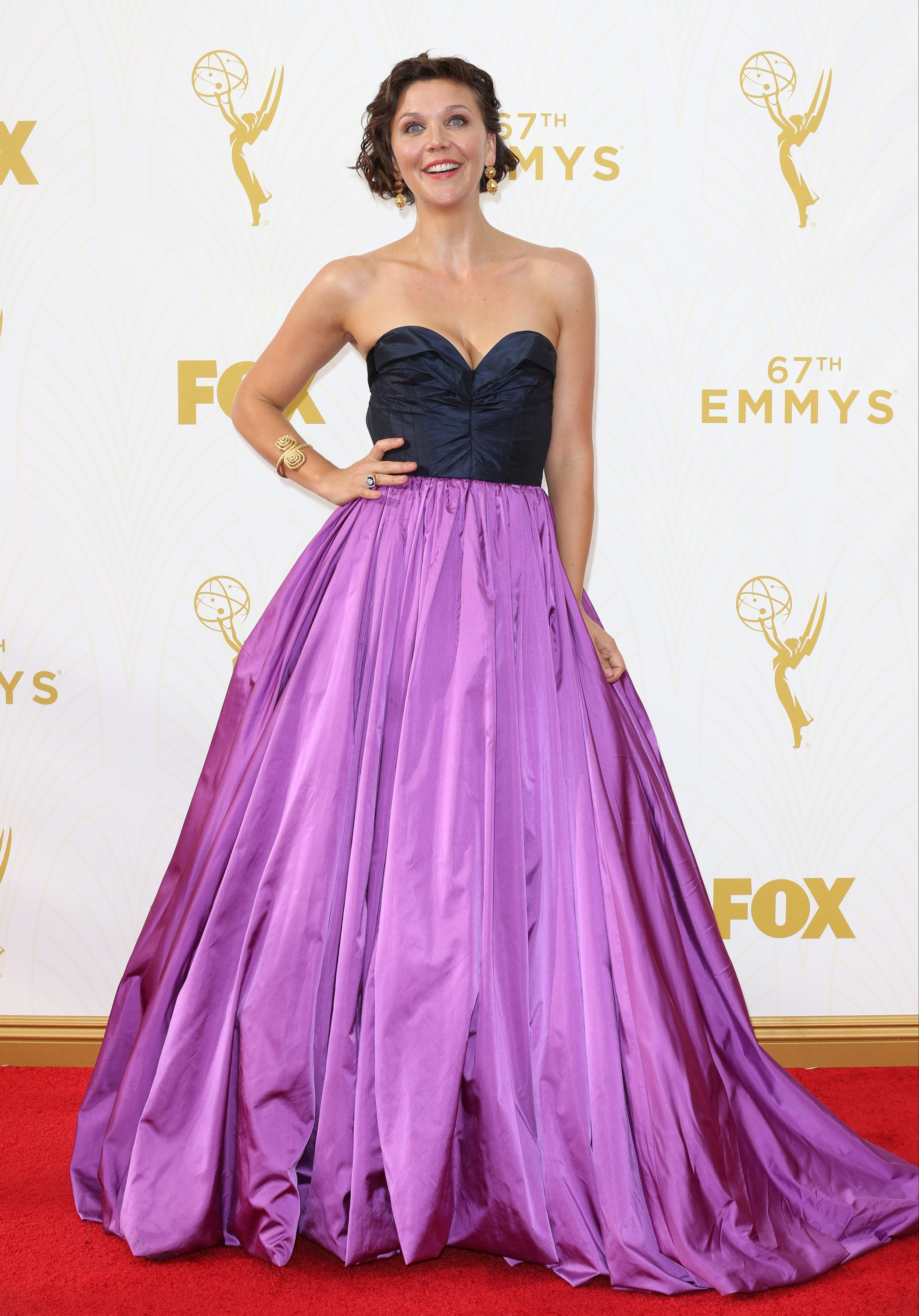 Celebrities arrive at 67th Emmys Red Carpet at Microsoft Theater.  Featuring: Maggie Gyllenhaal Where: Los Angeles, California, United States When: 20 Sep 2015 Credit: Brian To/WENN.com