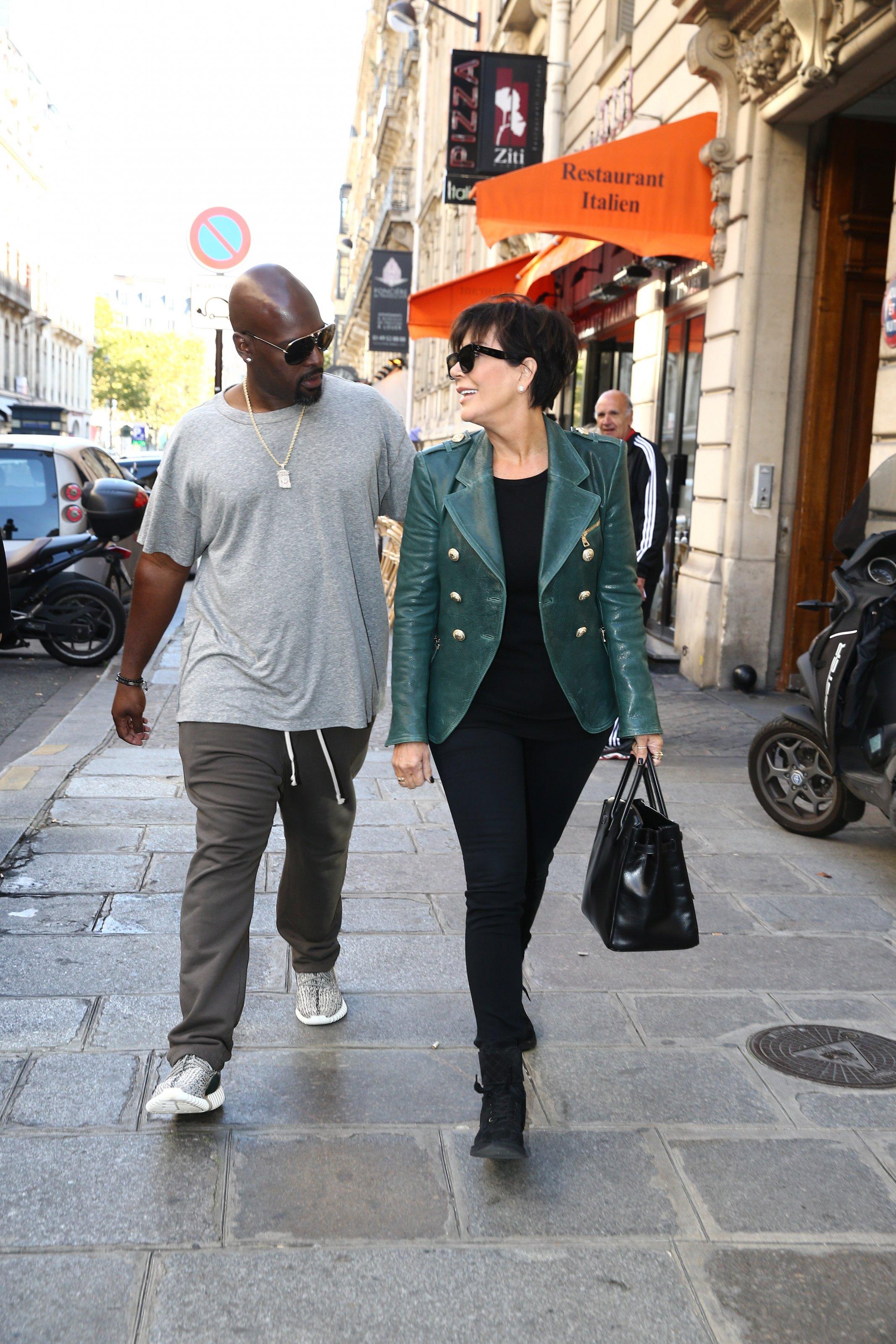 Kendall Jenner, Kris Jenner and her boyfriend Corey Gamble leaving Balmain showroom in Paris, France on September 30, 2015. Photo by ABACAPRESS.COM