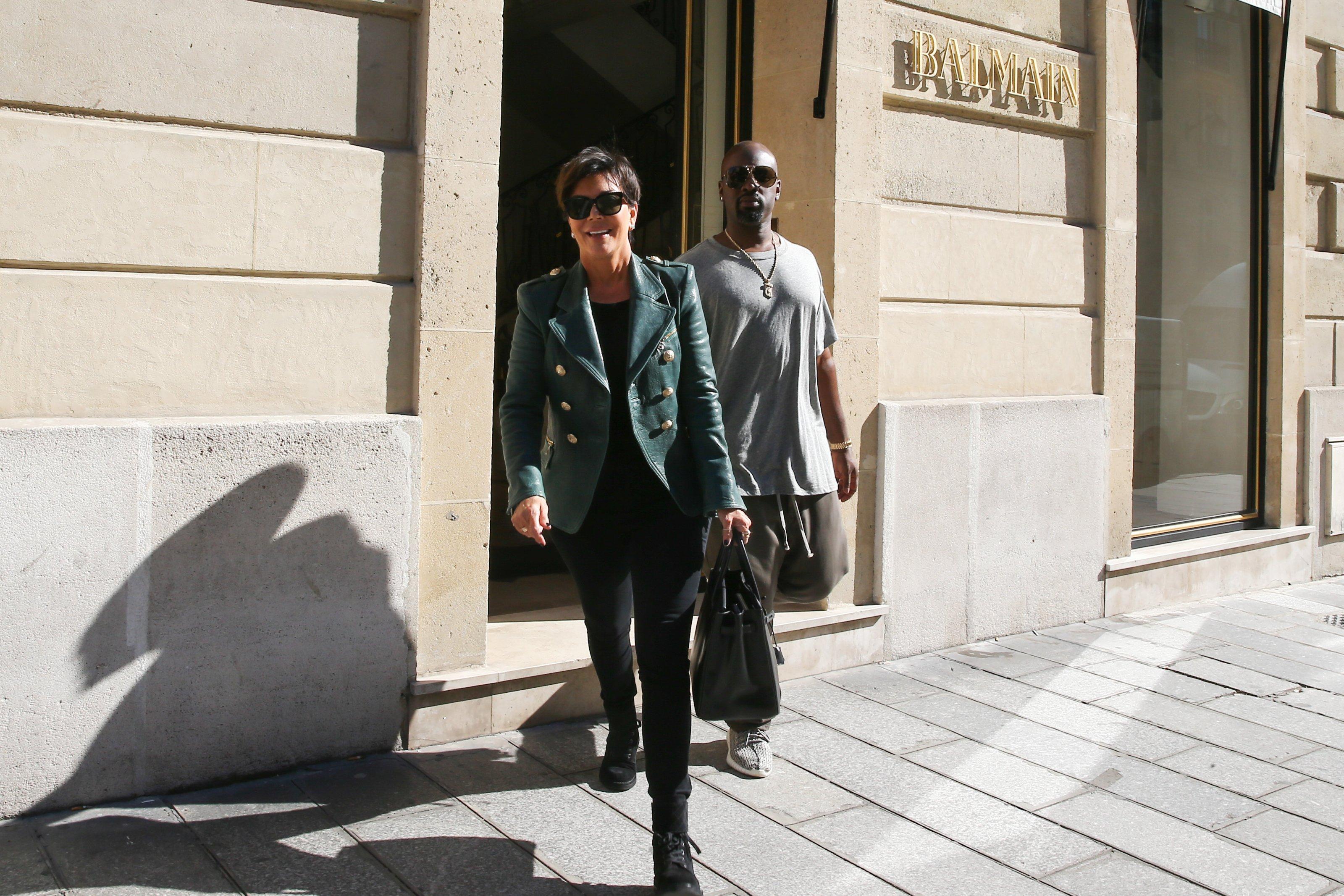 Kris Jenner and her boyfriend Corey Gamble leaving Balmain showroom in Paris, France on September 30, 2015. Photo by ABACAPRESS.COM