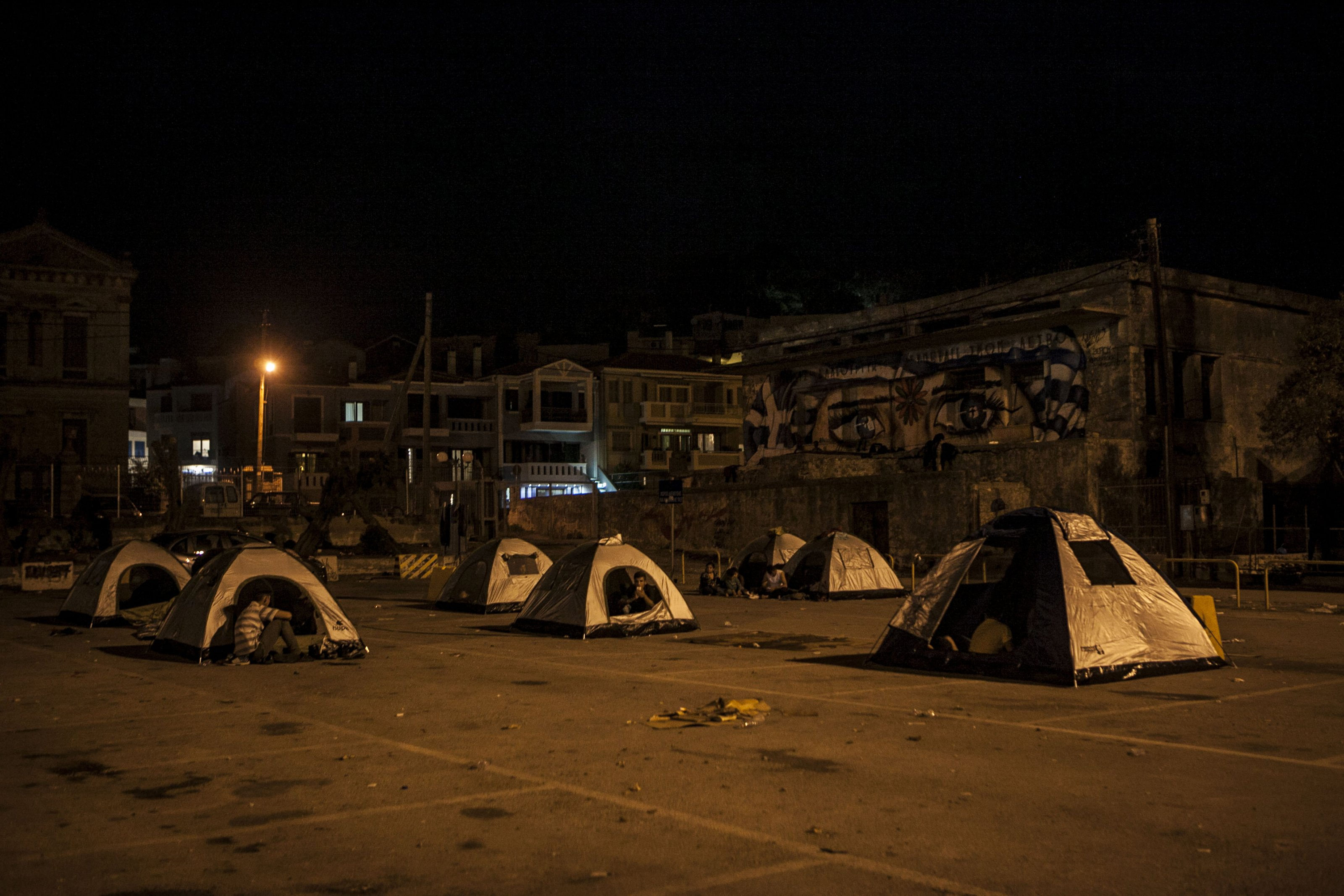 Syrian and Afghan refugees who successfully entered Europe by the sea, continue their journey. A majority of them is trying to find refuge in Germany. While waiting for their documents and ships that will carry them forth to Athens, the refugees built camps at the port and in other corners of the island. Lesbos, Greece, September 28, 2015. Photo by Cigdem Ucuncu/NarPhotos/ABACAPRESS.COM