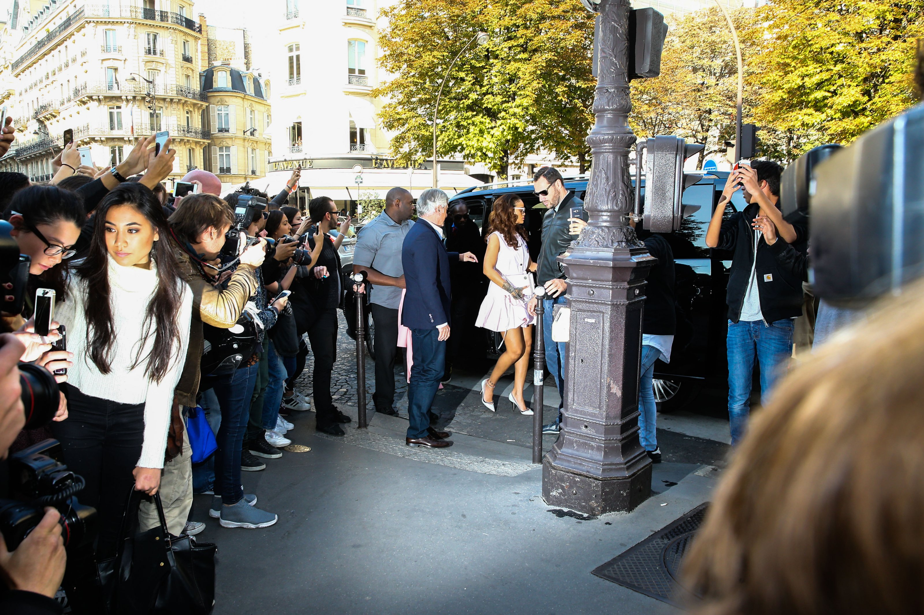Rihanna is seen leaving L'Avenue Restaurant in Paris, France on October 3, 2015 and then she arriving at Dior boutique with Sidney Toledano. Photo by ABACAPRESS.COM