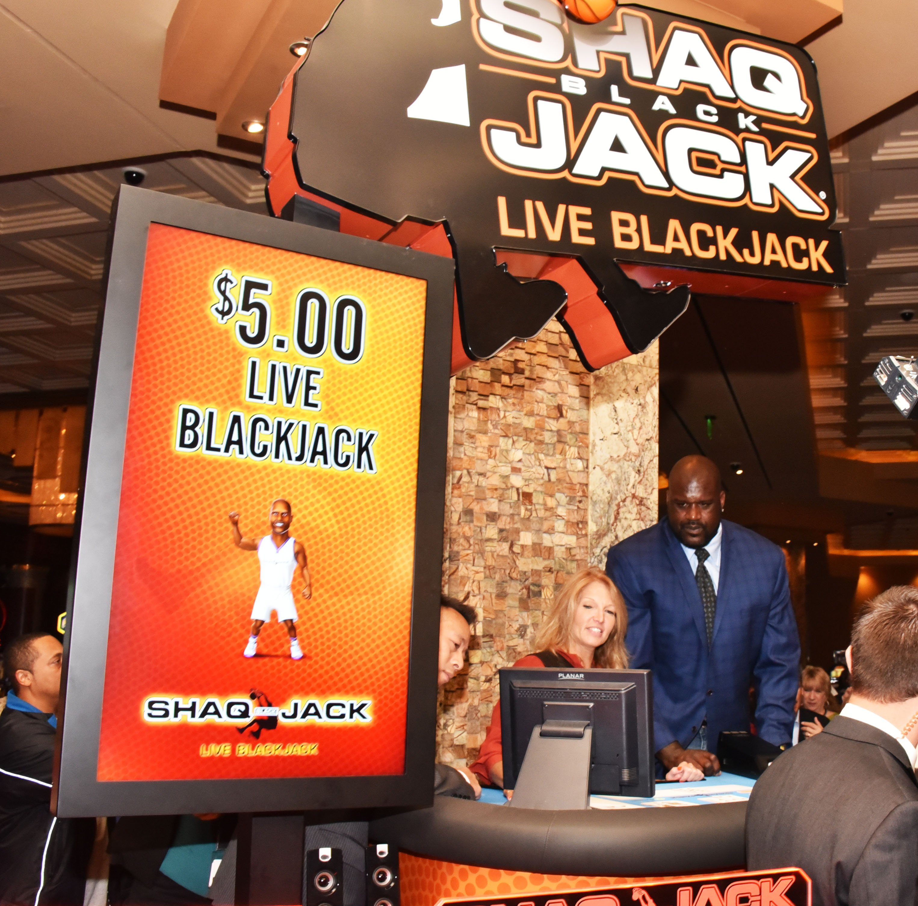 Shaquille O'Neal debuts ShaqBLACKJack at Parx Casino  Featuring: Shaquille O'Neal Where: Bensalem, Pennsylvania, United States When: 05 Oct 2015 Credit: Hugh Dillon/WENN.com