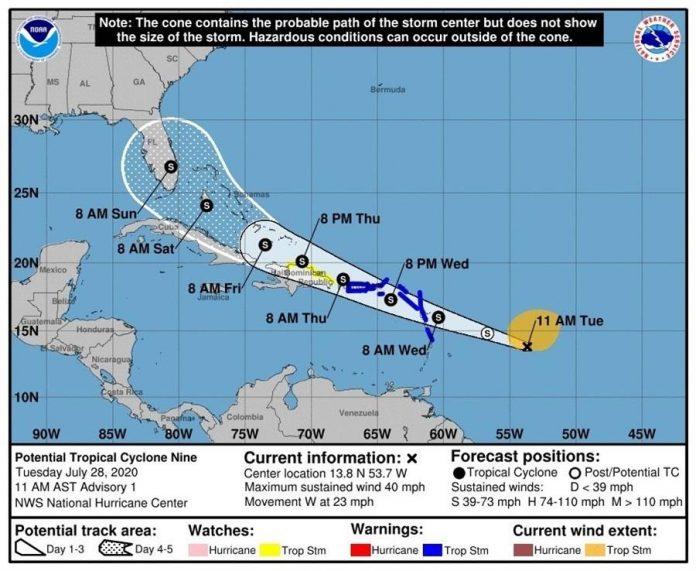 Una zona de baja presión se acerca a las Antillas Menores con lluvia y viento